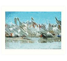 White Pelicans and Black Cormorant Abstract Impressionism Art Print
