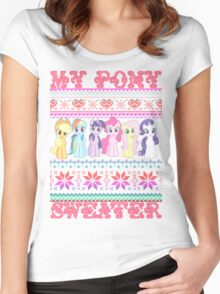 My Pony christmas sweater Women's Fitted Scoop T-Shirt