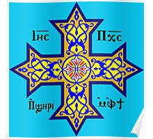 Coptic Orthodox Cross with text on blue Poster