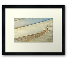 "Shore Surfing, skim surfing on the shallow waves on the beach at ""Avila Beach"" California Framed Print"