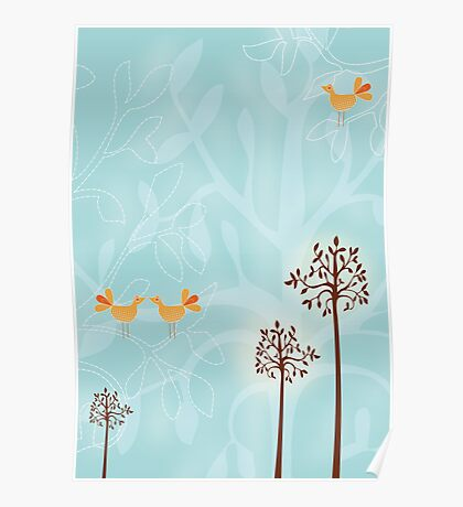 Birds in Trees Poster