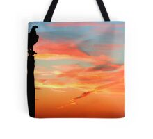 Perched Eagle at Sunset Tote Bag