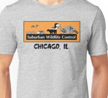 Suburban Wildlife Control - Chicago, IL tee - Orange box version Unisex T-Shirt