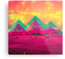 Trippy Pyramids Metal Print