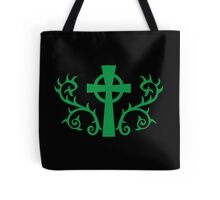 Green gothic cross with thorns Tote Bag