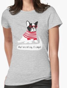 Hipster French bulldog Womens Fitted T-Shirt