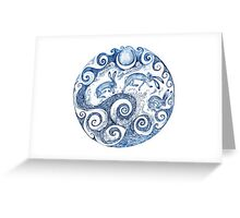 The Hares Jumped over the waves- Blue Greeting Card