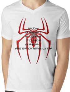 Spiderman- with great power comes great responsibility Mens V-Neck T-Shirt