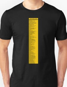 Library Sign - Dewey Decimal System by Tens -  Caution Yellow Unisex T-Shirt