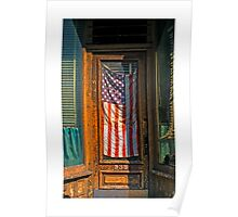 Flag in storefront window Poster