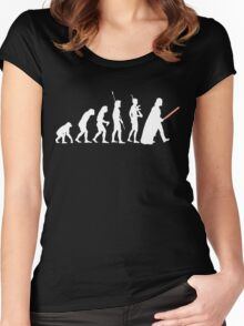 The Dark Side Of Evolution - White  Women's Fitted Scoop T-Shirt