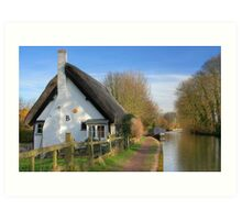 Thatched Cottage by the Grand Union Canal Art Print