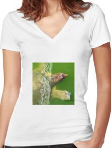 soft shelled turtle- Everglades Women's Fitted V-Neck T-Shirt
