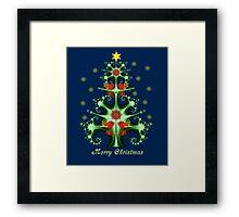 Decorative Fractal Christmas tree with snowflakes, birds & folk horses Framed Print