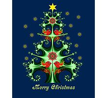 Decorative Fractal Christmas tree with snowflakes, birds & folk horses Photographic Print