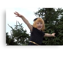 Paigey Girl with a bow Canvas Print