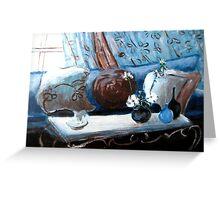 Blue Living Room Flower Original Acrylic Painting Greeting Card