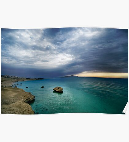 sunrise and turquoise water Poster