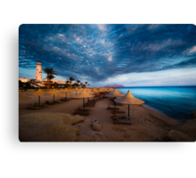 sunset and turquoise ocean Canvas Print