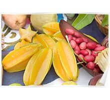 A selection of edible tropical fruit  Poster