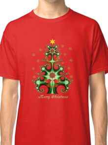 Swirly Christmas tree, snowflakes, birds and text design Classic T-Shirt