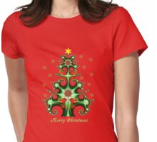 Swirly Christmas tree, snowflakes, birds and text design Womens Fitted T-Shirt
