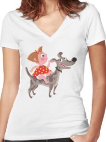 Dog Riding Academy Women's Fitted V-Neck T-Shirt