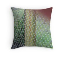 Tree through a fence Throw Pillow