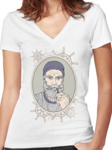 Salty Sea Dog Women's Fitted V-Neck T-Shirt