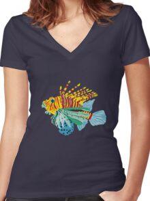 scorpio fish Women's Fitted V-Neck T-Shirt