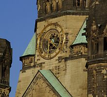 Clock at the memory church in Berlin Germany by fuxart