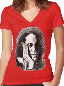 Pondering Man Women's Fitted V-Neck T-Shirt