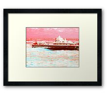 Pier in rough weather.  Framed Print