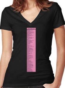 Library Sign - Dewey Decimal System by Tens -  Titled Neon Pink Women's Fitted V-Neck T-Shirt