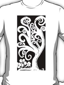 Twisting and Twirling in Black and White T-Shirt