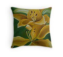 Yellow Tiger Lilies Throw Pillow
