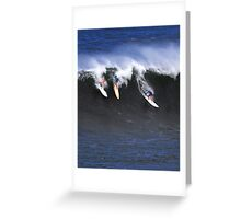 Tom Carroll, Buttons Kaluhiokalani, Kelly Slater at Waimea Bay 2011 Greeting Card
