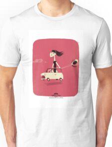 Winnie drives a mini Unisex T-Shirt