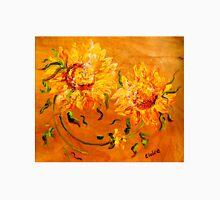 Fiery Sunflowers on Wood Unisex T-Shirt