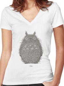 Totoro Illustration Women's Fitted V-Neck T-Shirt