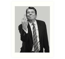Ronald Reagan Flipping The Bird  Art Print