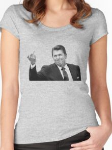 Ronald Reagan Flipping The Bird  Women's Fitted Scoop T-Shirt