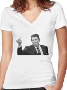 Ronald Reagan Flipping The Bird  Women's Fitted V-Neck T-Shirt