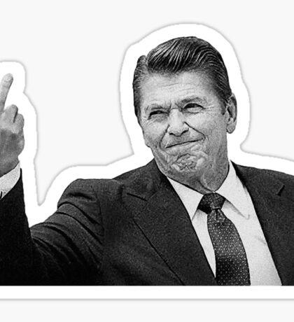 Ronald Reagan Flipping The Bird  Sticker