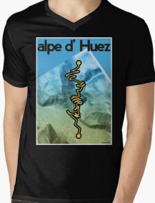 Cycling Poster of Alpe d Huez Mens V-Neck T-Shirt