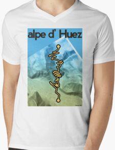 Cycling Poster of Alpe d Huez Mens V-Neck T-Shirt