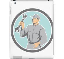 Mechanic Holding Spanner Wrench Circle Retro iPad Case/Skin