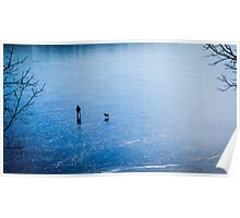 Man, dog, frozen lake Poster