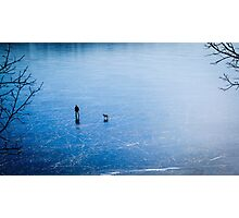 Man, dog, frozen lake Photographic Print