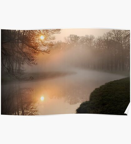 When the sun meets the mist at Groeneveld Poster